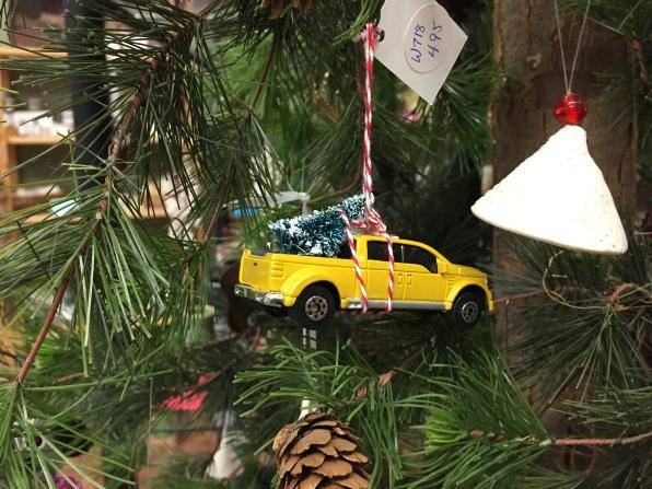 Bringing home the tree, tree ornament.