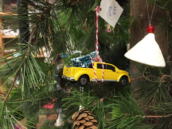 Bringing home the tree, tree ornament.