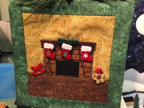 Quilted Chritmas picture, Christmas Fireplace